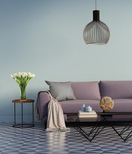Rendering of a Blue elegant interior with purple sofa and flowers